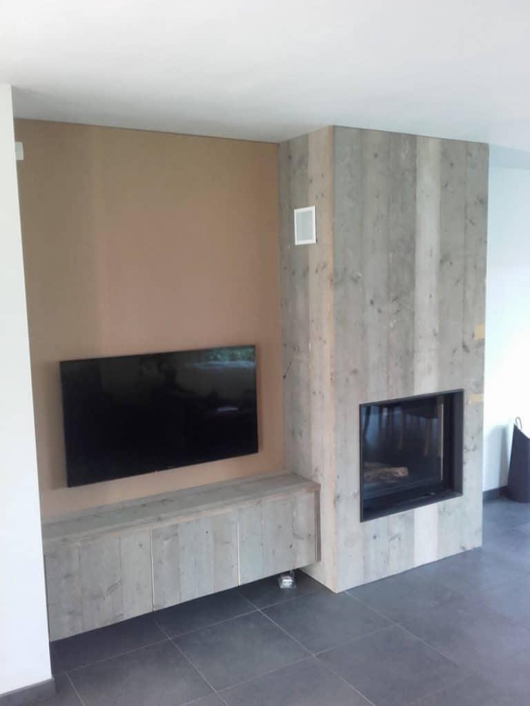 Deboosere interieurinrichting | Haardwand Steigerhout image 11